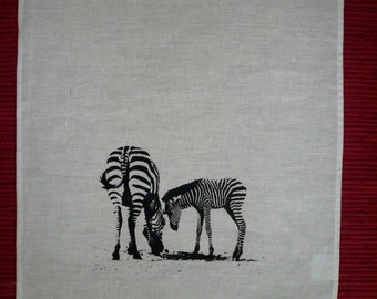 Mum and Baby Zebras - Linen Tea Towel
