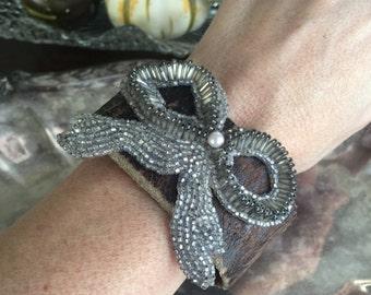 SOLD to MT - bow-heme - vintage leather cuff bracelet glass bugle bead bow assemblage art deco boho bohemian gyspy tribal rustic