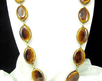Bold Statement Necklace with Warm Brown Beads, Chunky Brown Stone Necklace - 50% OFF--CLEARANCE Necklace
