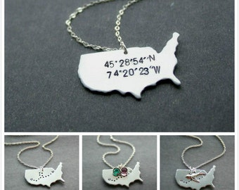 Coordinates Necklace, State Necklace, Location Necklace, Custom Coordinates, 2 States, Love Necklace, Best Friends Necklace, Sterling Silver