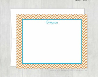 Personalized Thank You Notes • Simple Chevron {FLAT} • 10 Note Cards with Envelopes • Personalized Stationery • Personalized Stationary