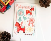 Filipino Greeting Card III - Red Horse Paper Mache - A6 - Holiday - Christmas Card
