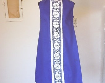 LAST CHaNCE SALE Vintage 60's 70's Sleeveless Dress, MOD Bright Purple, TWiGgy Style with White Lace, Size Xs to Small, Bust 34