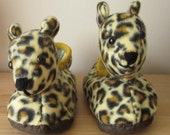 Leopard Head Slippers,Kids Unisex,Aged 3 UP,Medium Cream Brown Spot Print Plush,Cream Poodle Plush Lining,Easter Gift,Easter Present.