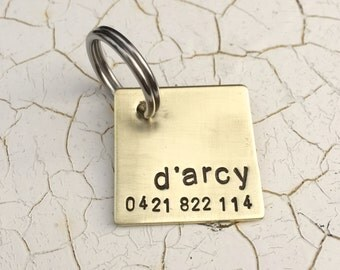 Custom Dog Tag-  1'' Square Brushed Aluminum, Copper or Brass