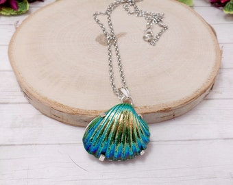 Green Titanium Shell Necklace - Beach Necklace - Mermaid Necklace