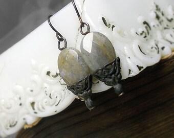 Beaded Earrings - Faceted Labradorite Oval Gemstone Earrings in Layered Fancy Vintage Bead Caps - Everyday Glam Dandy Earrings - Stone Bead