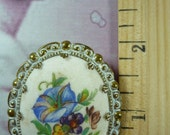 SALE Vintage Floral Brooch - Intricate Cameo - Made in Western Germany - FREE SHIP usa