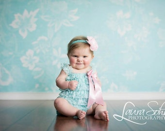 Baby Girl Lace Romper/Girls Romper/Baby Rompers for Girls/Pink & Aqua Romper/1st Birthday Girl Outfit/Cake Smash Outfit/Ruffle Petti Romper