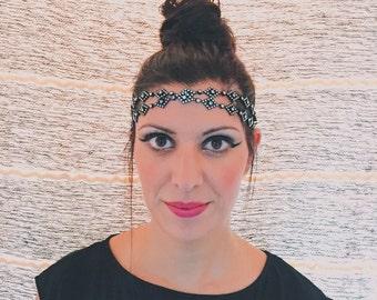 Art Deco Diamond & Circle Headband- Black