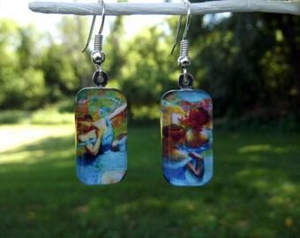 Degas earrings, Blue Dancers, ballet, art earrings, small glass earrings, blue, impressionist art earrings