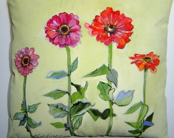 The Charming Zinnias Pillow 15x15 Hand Painted Original Art Creamy-Dreamy Cottage Garden Flowers Charming Accent Pillow
