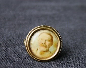 Grandpa on a badge. Antique photo brooch. Rescued collectible picture pin.