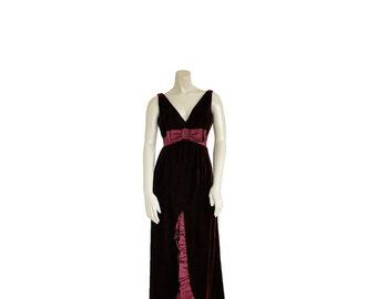 1960s Designer Evening Gown  S / M • 60s Cocktail Dress • Full Length