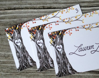 Autumn Tree with initials carved in heart place cards, flat or tented, handwritten names, for your rustic, nature-inspired fall wedding