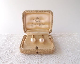 1950s Ciro 9k Gold Pearl Earrings in original box