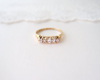 antique 18k gold Diamond five stone Wedding Band / 1880s Victorian UK hallmarks ... size 7.5