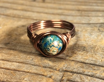 blue imperial jasper antique copper wire wrapped gemstone ring - size 8.25 , 8 1/4 turquoise navy aqua women men wrap unisex