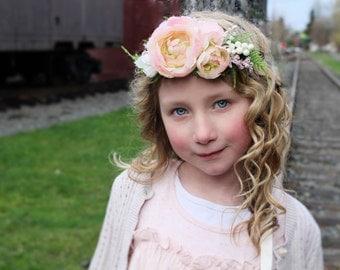 Blush halo headband, Pink tieback,flower crown,spring headband,fairy headband,flower girl headband, ready to ship ages 1-10yr