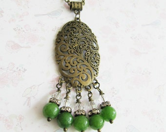 Green necklace, large pendant, green jewelry, vintage style jewelry, bronze necklace, for her