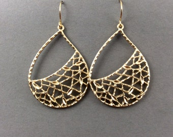 Gold Earrings Chandelier Earrings With Leaves And Branches In Gold Teardrops