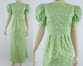 SALE Vintage Seventies Dress - 1970s Green Floral Maxi - 70s Long Dress with Princess Sleeves - Medium Seventies Dress