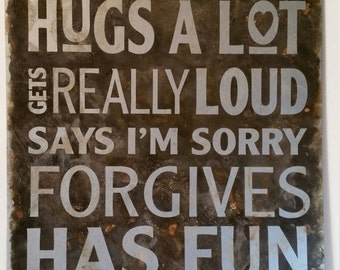 """OUR FAMILY makes mistakes etched metal sign 12""""x18"""" in slate, rust, and silver"""