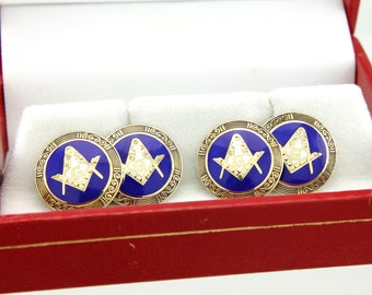 Masonic Cufflinks 10k Gold - Vintage Art Deco Jewelry