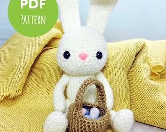 Easter Bunny - White Rabbit - Easter Egg Basket - Amigurumi Crochet PDF Pattern