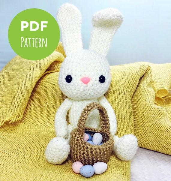 Crochet Doll Scarf Pattern Free : Easter Bunny White Rabbit Easter Egg Basket Amigurumi