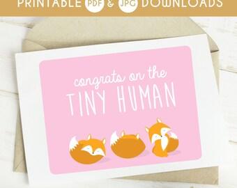 printable baby card, baby shower card, printable baby shower card, digital download baby card, baby girl printable card