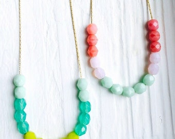 Cute Colorblock Czech Glass bead Necklace. Pretty mint, coral, and light pink beads on your choice of chain. Dainty, Delicate, and Beautiful