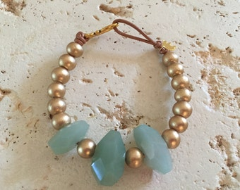 Chunky, Green, and Gold Aventurine Bracelet