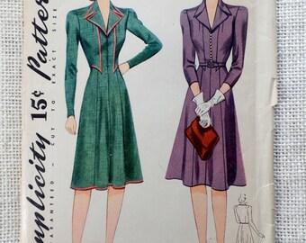 Vintage Pattern Simplicity 3948 1940s shirtwaist dress Bust 34 1941 pre war era Faux bolero 8040