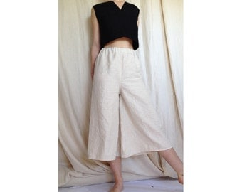 Linen super wide leg culottes. Cropped wide leg linen pants in Black or Pale Beige