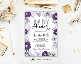 Baby Shower Invitation, Baby Shower Invite, Baby Girl Shower Invite, Purple Baby Shower Invitation, Baby Shower Invitation Girl, Watercolor