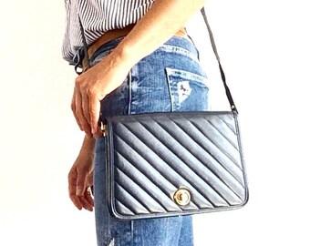 20% SALE NOW UNTIL 1/22/17 Blue small crossbody bag, quilted leather bag, vintage leather purse, leather shoulder bag, vintage messenger bag