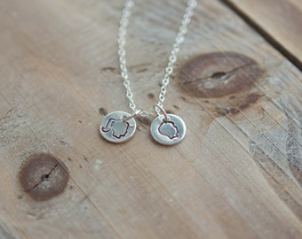 Silhouette Necklace - Sterling Silver - Boy or Girl - Hand Stamped - Mom Necklace - Children Necklace - Mother's Necklace