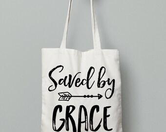 Saved By Grace, Christian Tote,Market Bag, Canvas Tote Bag, Inspirational Gifts, Gym Bag, Book Bag, Inspirational Totes, Motivational Totes