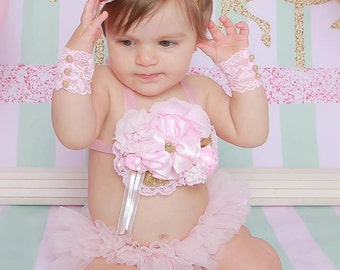Pink and gold cake smash set, baby bloomers, baby headband, baby top, baby cuffs, birthday outfit, first birthday