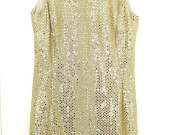 Vintage 1980s Metallic Gold Sequin Party Dress // Glam // Body Con // Club Wear // Sheath Dress // Size 6