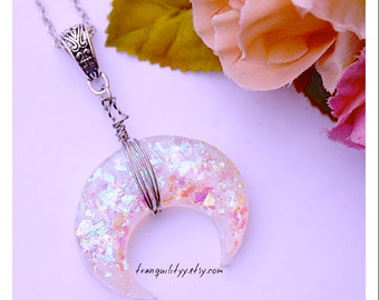 Moon Necklace , Cellophane Glitter Bohemian Necklace Chubby Moon ,Moon Wore Wrap Resin Necklace, By: Tranquilityy