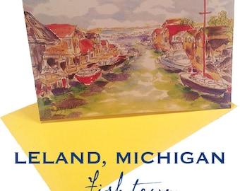 Leland, Michigan - Fishtown  NOTECARDS