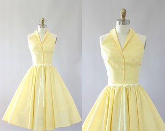 Vintage 50s Dress/ 1950s Cotton Dress/ Light Yellow Gingham Print Halter Cotton Dress w/ Sequin Buttons XS