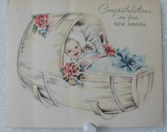 Gibson Greeting Card! Congratulations On Your New Arrival! Baby Is In A Wooden Barrel Rocking Bed! Beautiful Vintage Card Ships Free! Sale!