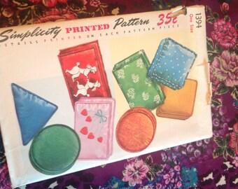 Vintage Simplicity Pattern 1394, pillow pattern, 50's pillow pattern, unused pattern, pillow selection