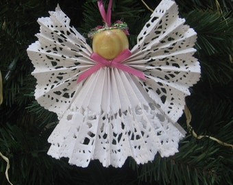 Angel Christmas Ornament, Tree Ornament, Pink and White, Lace Paper Angel, Paper Angel Ornament, Tree Decor, Angels, Holiday SnowNoseCrafts