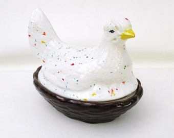 Vintage Hen on Nest, Butter Dish, Gravy Boat, Chicken Nesting Box, Dip Bowl, Speckled Pottery