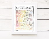"eat your colors - 11""x14"" kitchen art print - dark or light kitchen decor poster"