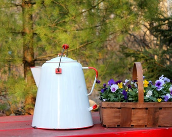 Large Vintage Enamelware Coffee Pot ~ Large Red & White Enamelware Tea Kettle ~ Farmhouse Rustic ~ 4th of July ~ Patriotic Decor ~ Glamping